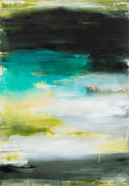6. Behind, beneath, between, Acryl-Pigmente-Leinwand, 2018, 100 x 70 cm