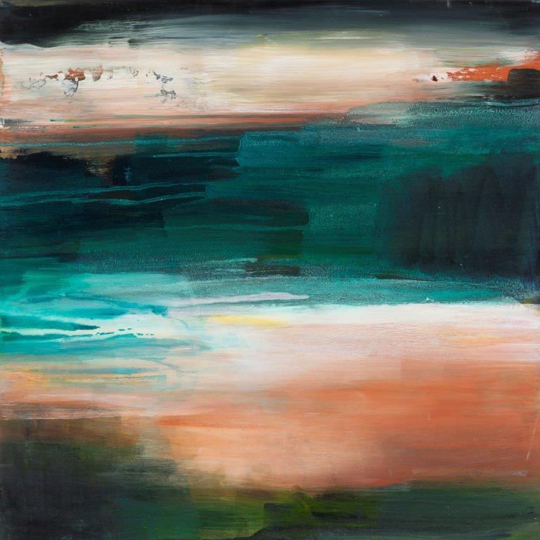 9. Daybreak, Acryl-Pigmente-Holz, 2018, 60 x 60 x 5 cm