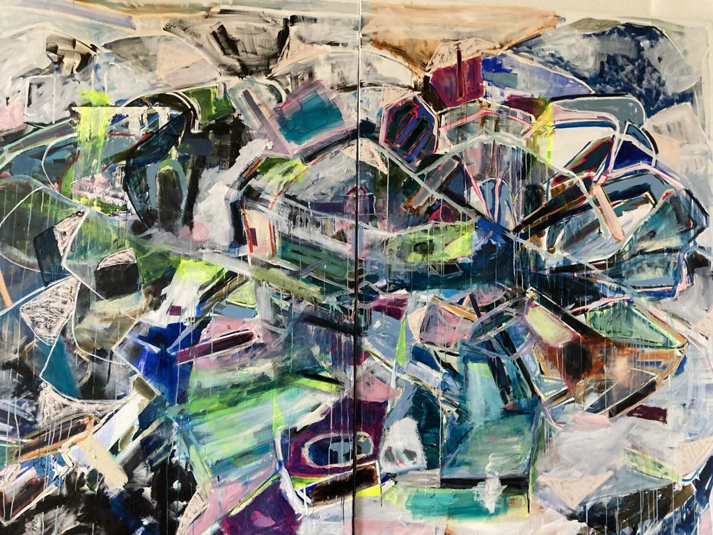 Der Jahrmarkt in Soho und das nächtliche treiben der Hellebardenträger 240 x 320 cm oil and acrylic on Canvas 2020