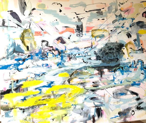 Der eisige Jakuten Tanz und das Fischen am Ural oil and acrylic on Canvas 90 x 110 cm 2021