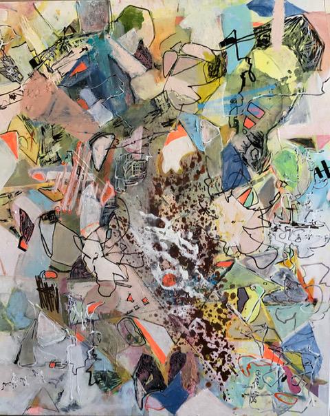 Sternenstaub und die Hochzeit der Pallasiten oil and acrylic on Canvas 110 x 90 cm 2021