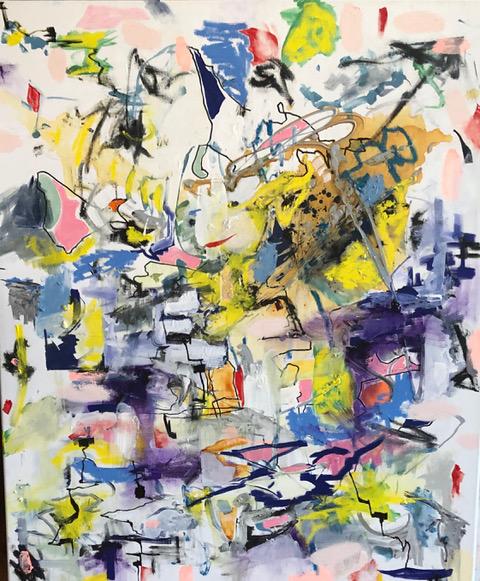 Der eingeschnappte Früchtebaum und der Colibri Tanz am Morgengrauen oil and acrylic on Canvas 110 x 90 cm 2021